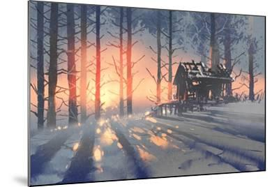 Winter Landscape of an Abandoned House in the Forest,Illustration Painting-Tithi Luadthong-Mounted Art Print