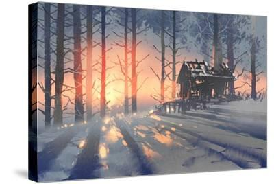 Winter Landscape of an Abandoned House in the Forest,Illustration Painting-Tithi Luadthong-Stretched Canvas Print