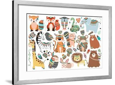 Woodland and Jungle Tribal Animals Isolated Vector Set- mckenna71-Framed Art Print