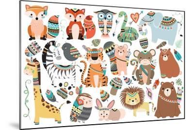 Woodland and Jungle Tribal Animals Isolated Vector Set- mckenna71-Mounted Art Print