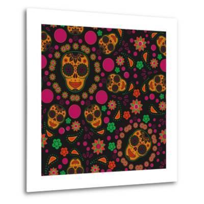 Sugar Skull Seamless Pattern- Blackspring-Metal Print