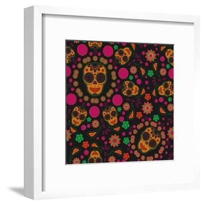 Sugar Skull Seamless Pattern- Blackspring-Framed Art Print