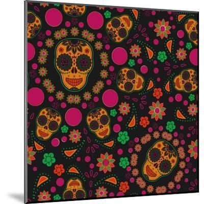 Sugar Skull Seamless Pattern- Blackspring-Mounted Art Print