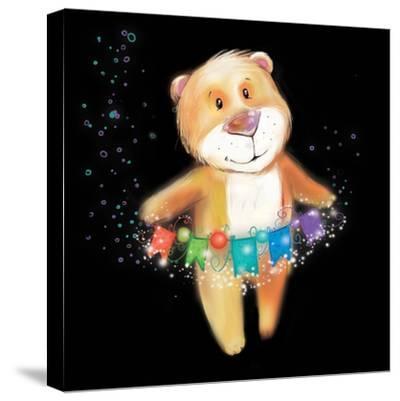 ?Artoon Bear on a Black Background. New Year-STRYHELSKAYA VOLHA-Stretched Canvas Print