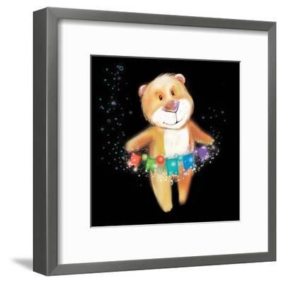 ?Artoon Bear on a Black Background. New Year-STRYHELSKAYA VOLHA-Framed Art Print