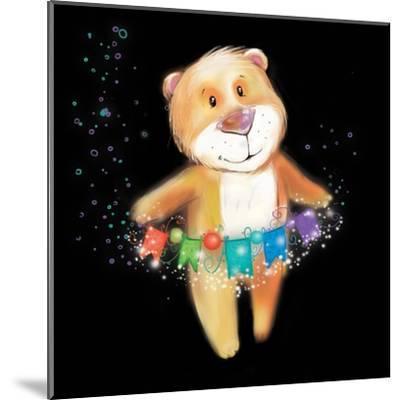 ?Artoon Bear on a Black Background. New Year-STRYHELSKAYA VOLHA-Mounted Art Print