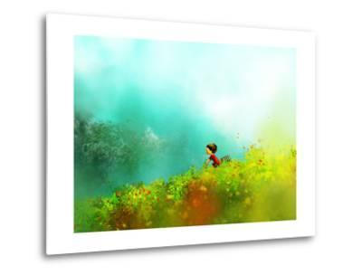 Digital Painting of Girl in Red Dress Rides a Bike in Flower Fields, Oil on Canvas Texture- Archv-Metal Print
