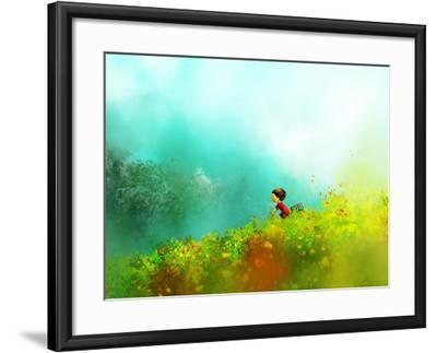 Digital Painting of Girl in Red Dress Rides a Bike in Flower Fields, Oil on Canvas Texture- Archv-Framed Art Print