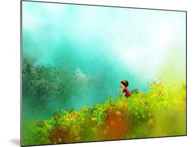 Digital Painting of Girl in Red Dress Rides a Bike in Flower Fields, Oil on Canvas Texture- Archv-Mounted Art Print
