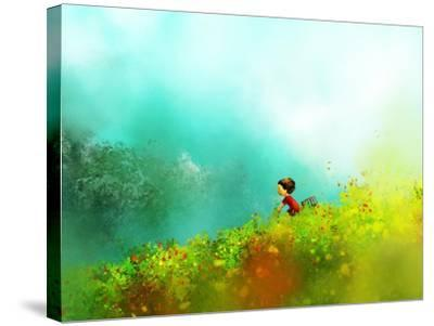 Digital Painting of Girl in Red Dress Rides a Bike in Flower Fields, Oil on Canvas Texture- Archv-Stretched Canvas Print