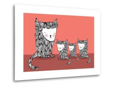 Cat and Kittens Illustration/Vector- lyeyee-Metal Print