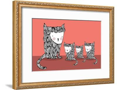 Cat and Kittens Illustration/Vector- lyeyee-Framed Art Print
