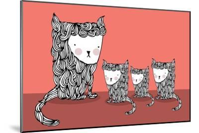 Cat and Kittens Illustration/Vector- lyeyee-Mounted Art Print
