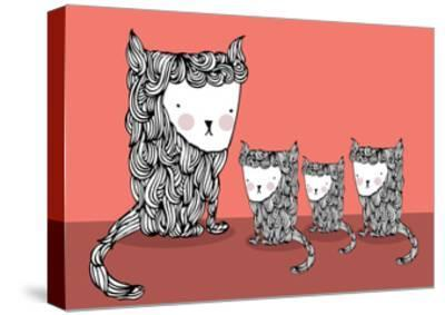Cat and Kittens Illustration/Vector- lyeyee-Stretched Canvas Print