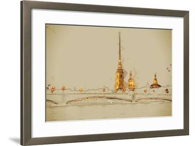 The Peter and Paul Fortress, Saint Petersburg, Russia. Travel Background Illustration. Painting Wit- Romas_Photo-Framed Art Print
