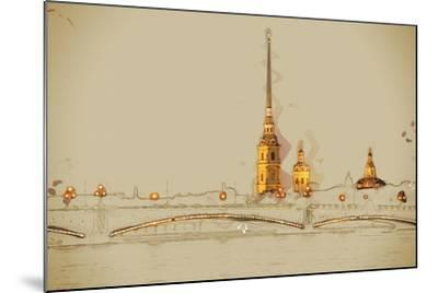 The Peter and Paul Fortress, Saint Petersburg, Russia. Travel Background Illustration. Painting Wit- Romas_Photo-Mounted Art Print