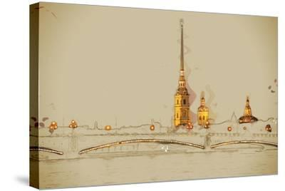 The Peter and Paul Fortress, Saint Petersburg, Russia. Travel Background Illustration. Painting Wit- Romas_Photo-Stretched Canvas Print