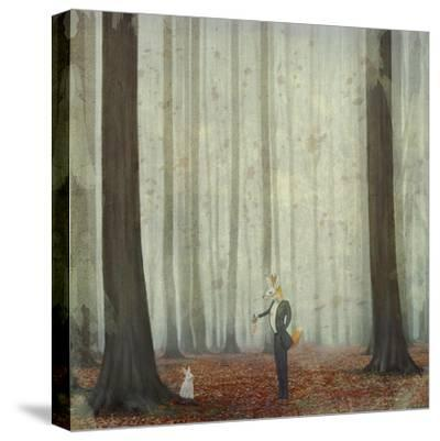 The Fox in a Wood to Hunt on a Hare-natalia_maroz-Stretched Canvas Print