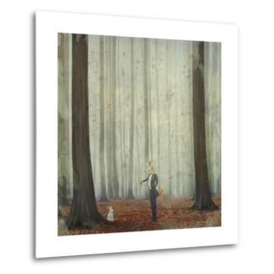 The Fox in a Wood to Hunt on a Hare-natalia_maroz-Metal Print