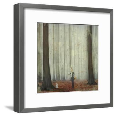 The Fox in a Wood to Hunt on a Hare-natalia_maroz-Framed Art Print