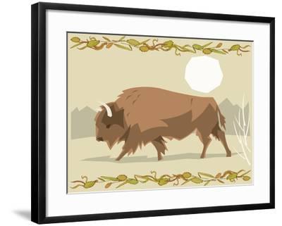 Bison in a Decorative Illustration-Artistan-Framed Art Print