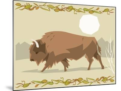 Bison in a Decorative Illustration-Artistan-Mounted Art Print