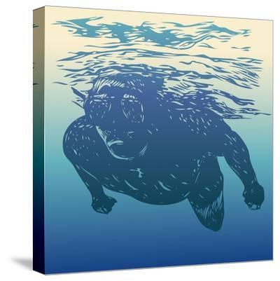 Scuba Diving. Hand Drawn Design Element. Vector Illustration.-jumpingsack-Stretched Canvas Print