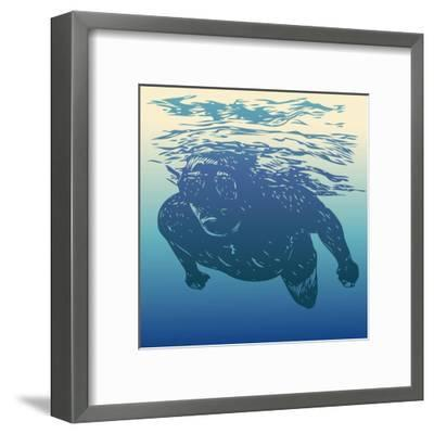 Scuba Diving. Hand Drawn Design Element. Vector Illustration.-jumpingsack-Framed Art Print