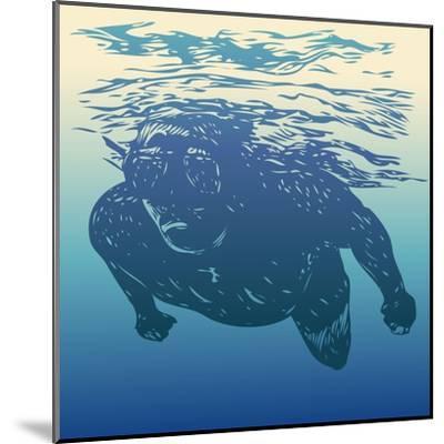 Scuba Diving. Hand Drawn Design Element. Vector Illustration.-jumpingsack-Mounted Art Print