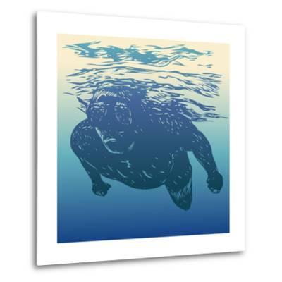 Scuba Diving. Hand Drawn Design Element. Vector Illustration.-jumpingsack-Metal Print