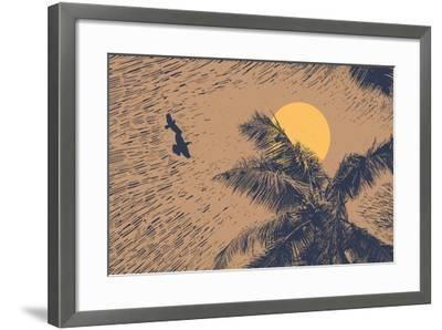 Tropical Landscape with Palms Trees, Two Birds and Sun. Linocut Style. Vector Illustration.-jumpingsack-Framed Art Print