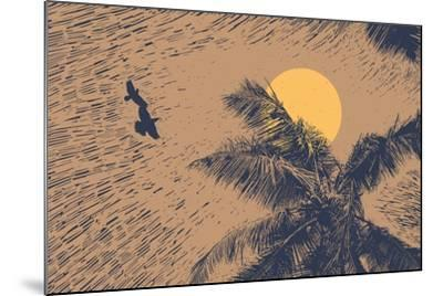 Tropical Landscape with Palms Trees, Two Birds and Sun. Linocut Style. Vector Illustration.-jumpingsack-Mounted Art Print