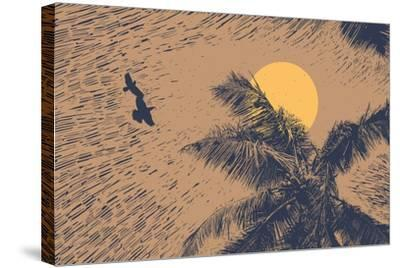 Tropical Landscape with Palms Trees, Two Birds and Sun. Linocut Style. Vector Illustration.-jumpingsack-Stretched Canvas Print