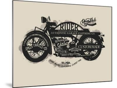Handmade Font Motorcycle Race with Typography Watercolor-yusuf doganay-Mounted Art Print