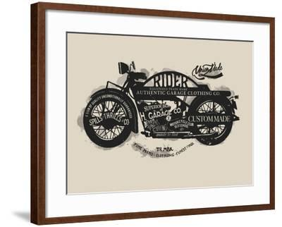 Handmade Font Motorcycle Race with Typography Watercolor-yusuf doganay-Framed Art Print
