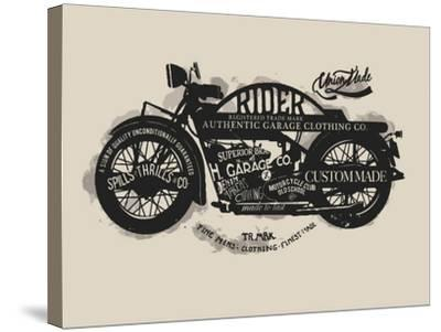 Handmade Font Motorcycle Race with Typography Watercolor-yusuf doganay-Stretched Canvas Print