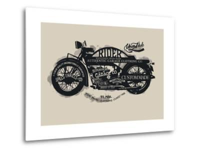 Handmade Font Motorcycle Race with Typography Watercolor-yusuf doganay-Metal Print