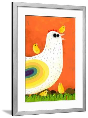 Hen Takes Care of its Chicks-Complot-Framed Art Print