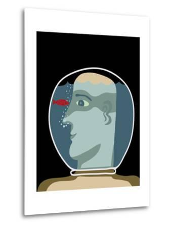 Man with a Head inside an Aquarium with Red Fish-Complot-Metal Print