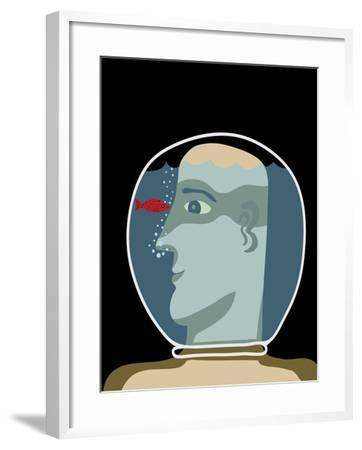 Man with a Head inside an Aquarium with Red Fish-Complot-Framed Art Print