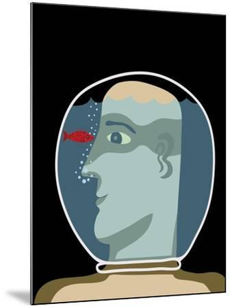 Man with a Head inside an Aquarium with Red Fish-Complot-Mounted Art Print