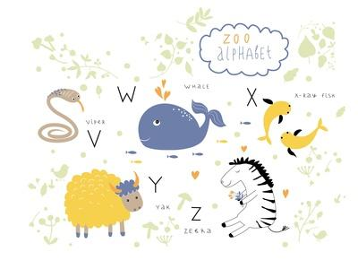 Zoo Alphabet - V, W, X, Y, Z Letters-Lera Efremova-Premium Giclee Print