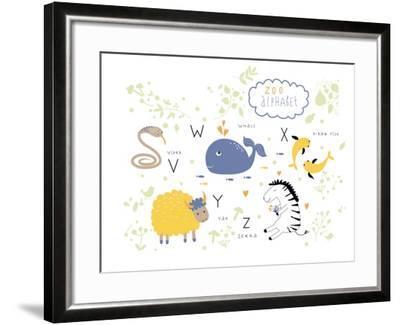 Zoo Alphabet - V, W, X, Y, Z Letters-Lera Efremova-Framed Premium Giclee Print