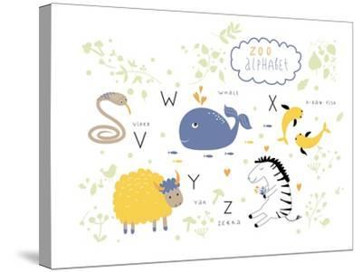 Zoo Alphabet - V, W, X, Y, Z Letters-Lera Efremova-Stretched Canvas Print