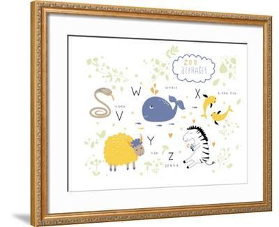 Zoo Alphabet - V, W, X, Y, Z Letters-Lera Efremova-Framed Art Print