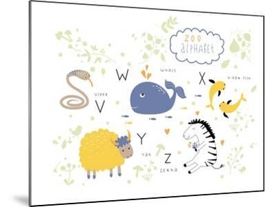 Zoo Alphabet - V, W, X, Y, Z Letters-Lera Efremova-Mounted Art Print