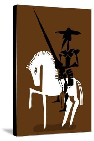 Don Quixote Knight and His Horse-Complot-Stretched Canvas Print