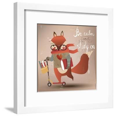 Cartoon Fox with Books-Elena Barenbaum-Framed Art Print