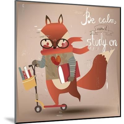 Cartoon Fox with Books-Elena Barenbaum-Mounted Art Print