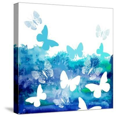 Watercolor Blue Background with Butterflies. Vector-Ihnatovich Maryia-Stretched Canvas Print